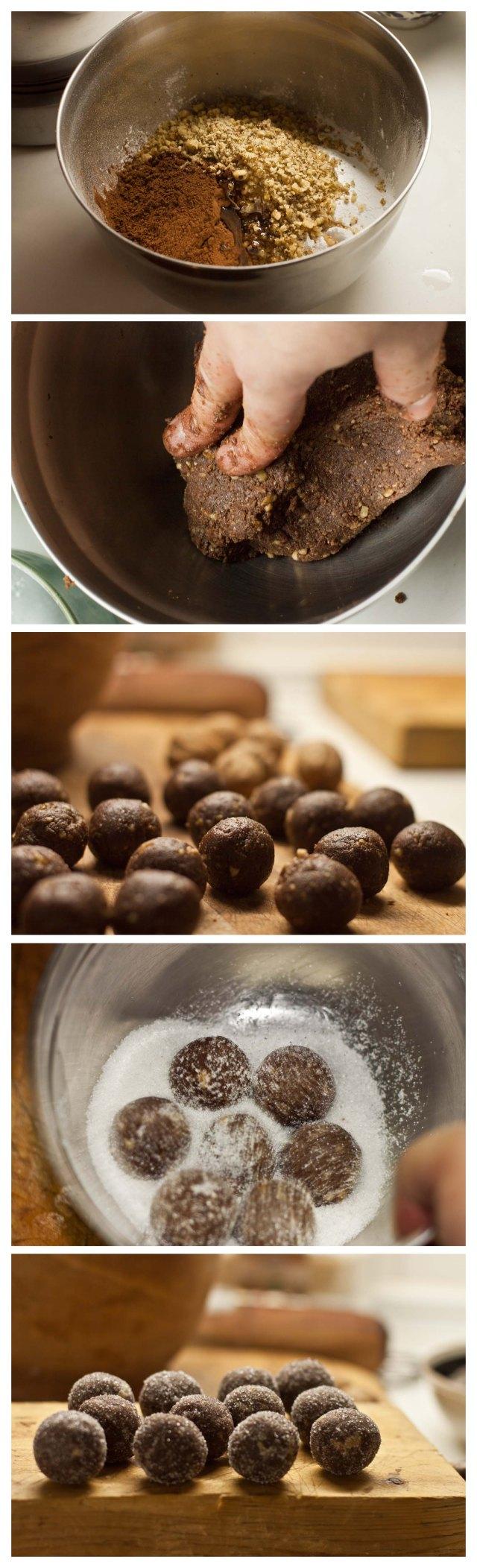 Elaboración de bolas de cacao y ron