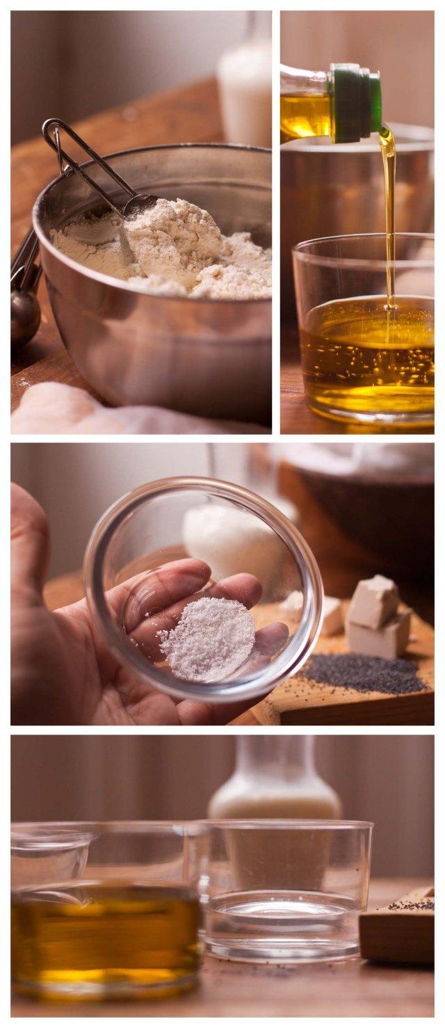Harina, aceite y sal