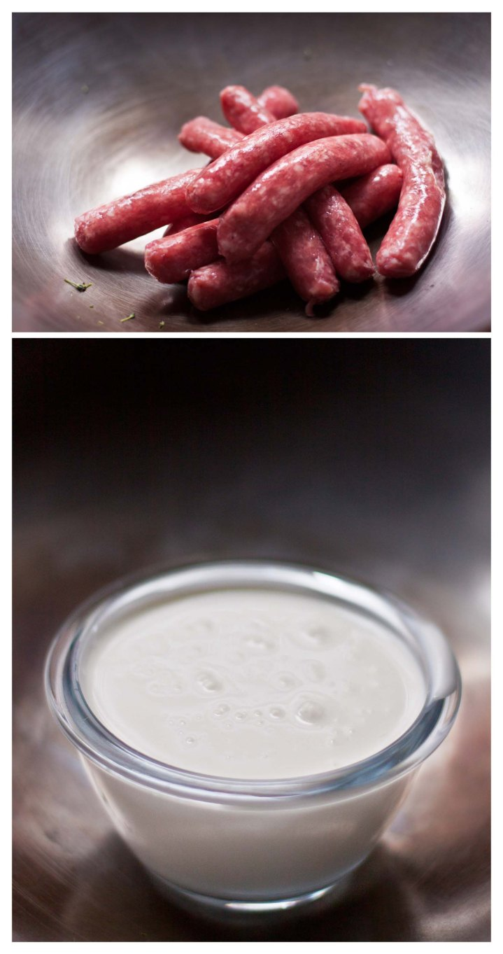 Salchicas frescas y nata