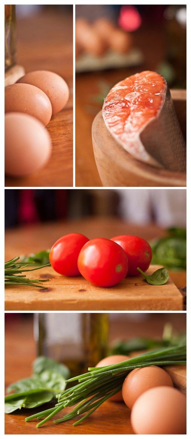 Huevos, salmón, tomates, hierbas frescas