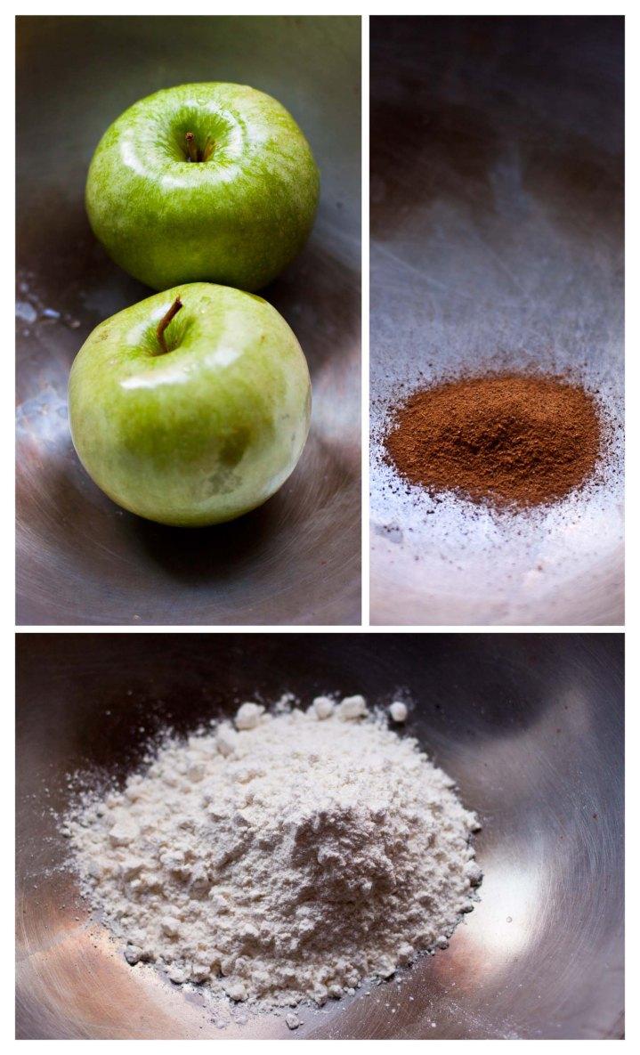 Manzanas, canela, harina