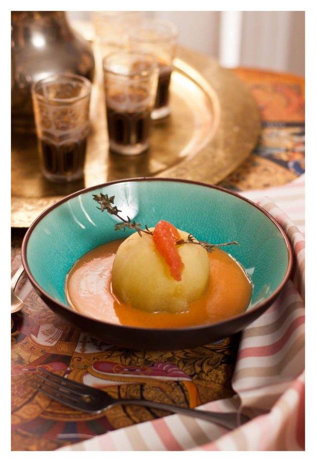 Manzanas con salsa de pomelo