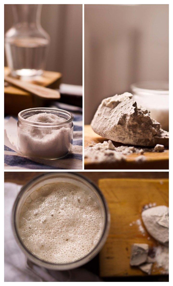 Sal, harina y masa madre