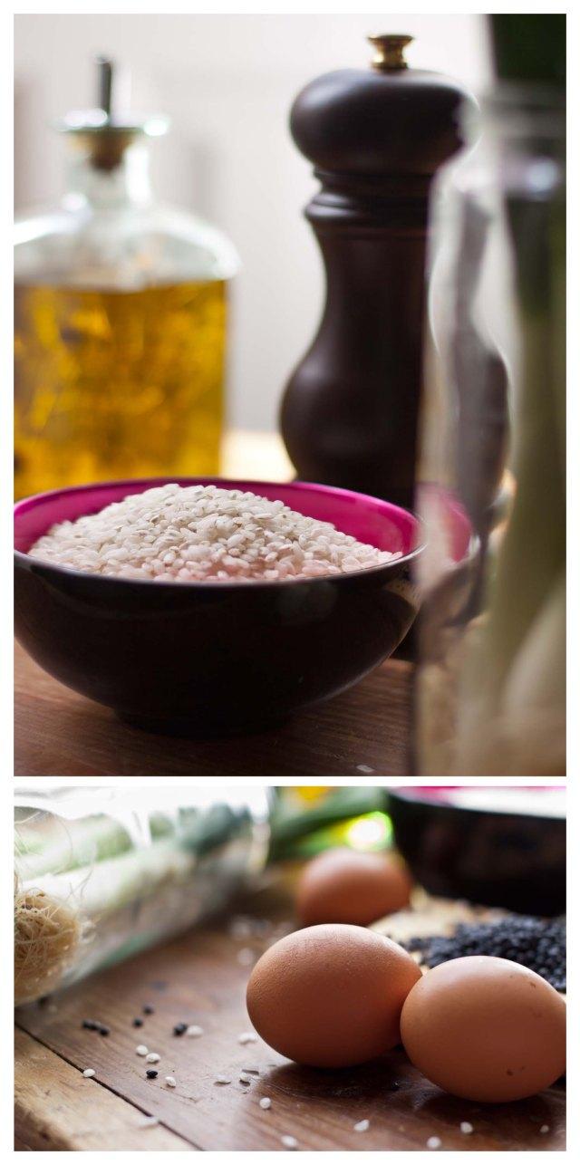 Arroz, aceite, pimienta y huevos