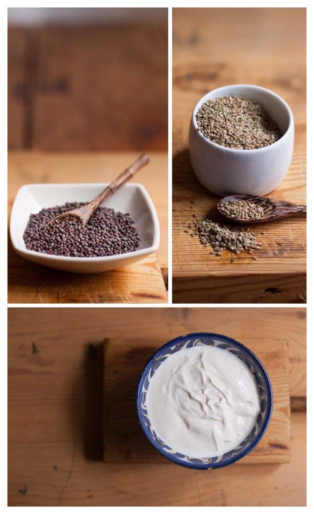 Mostaza, Ajwain y yogur