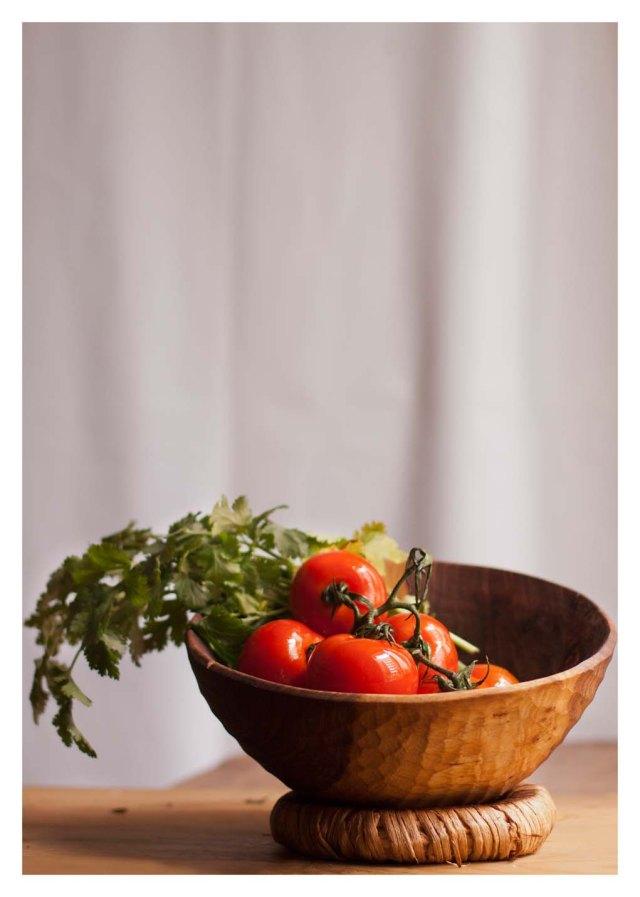 Tomates y cilantro