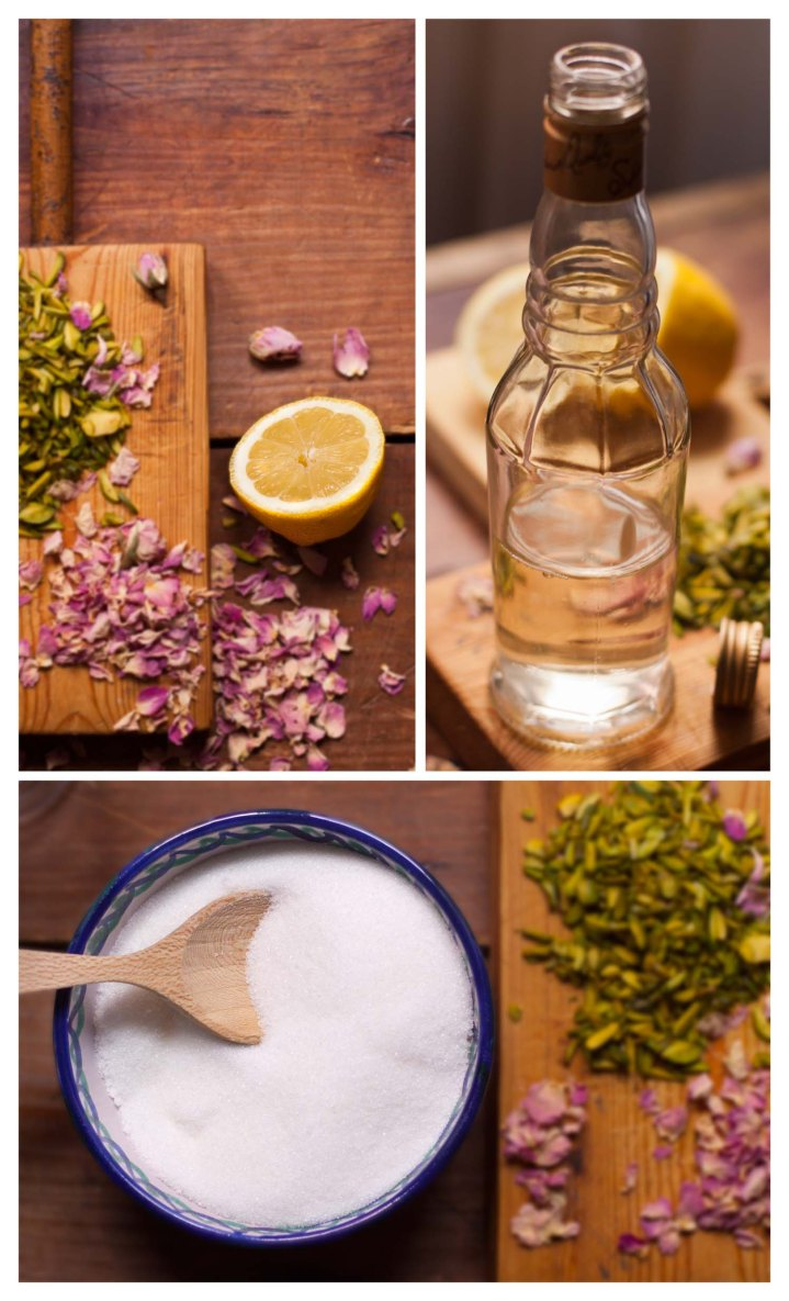 limon, agua de rosas y azucar