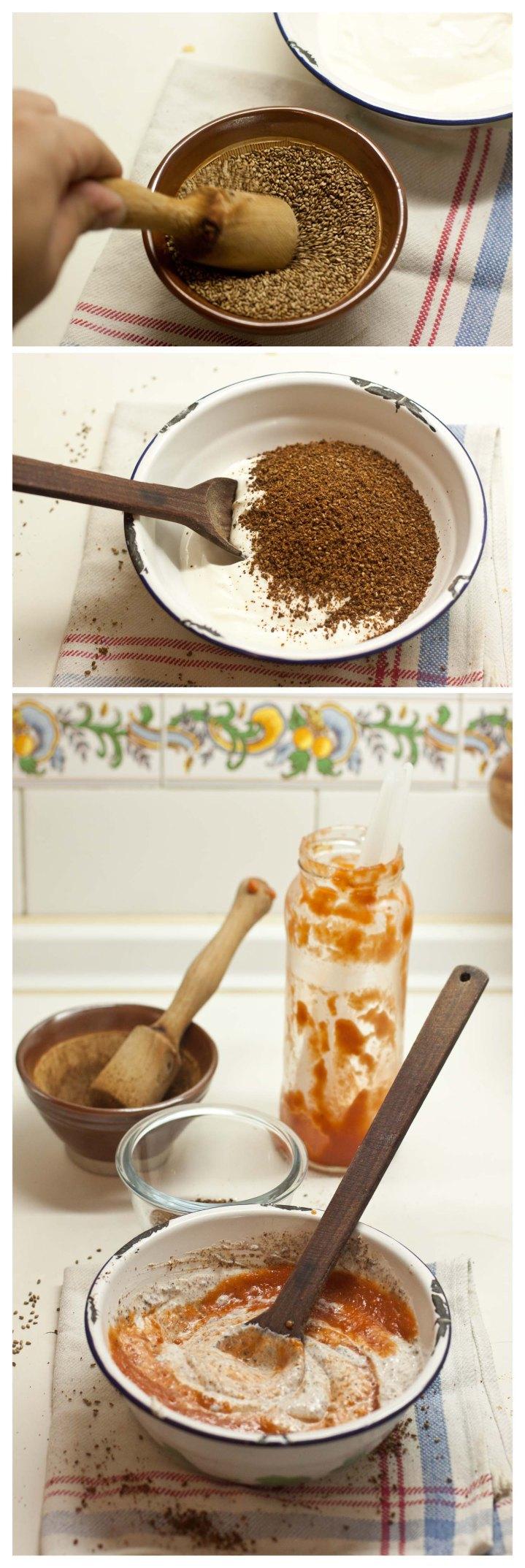 Elaboración de la salsa de yogur, sésamo y tomate