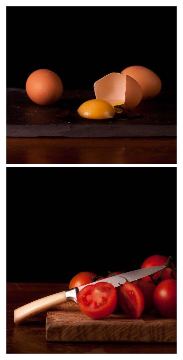 Huevos y tomates frescos