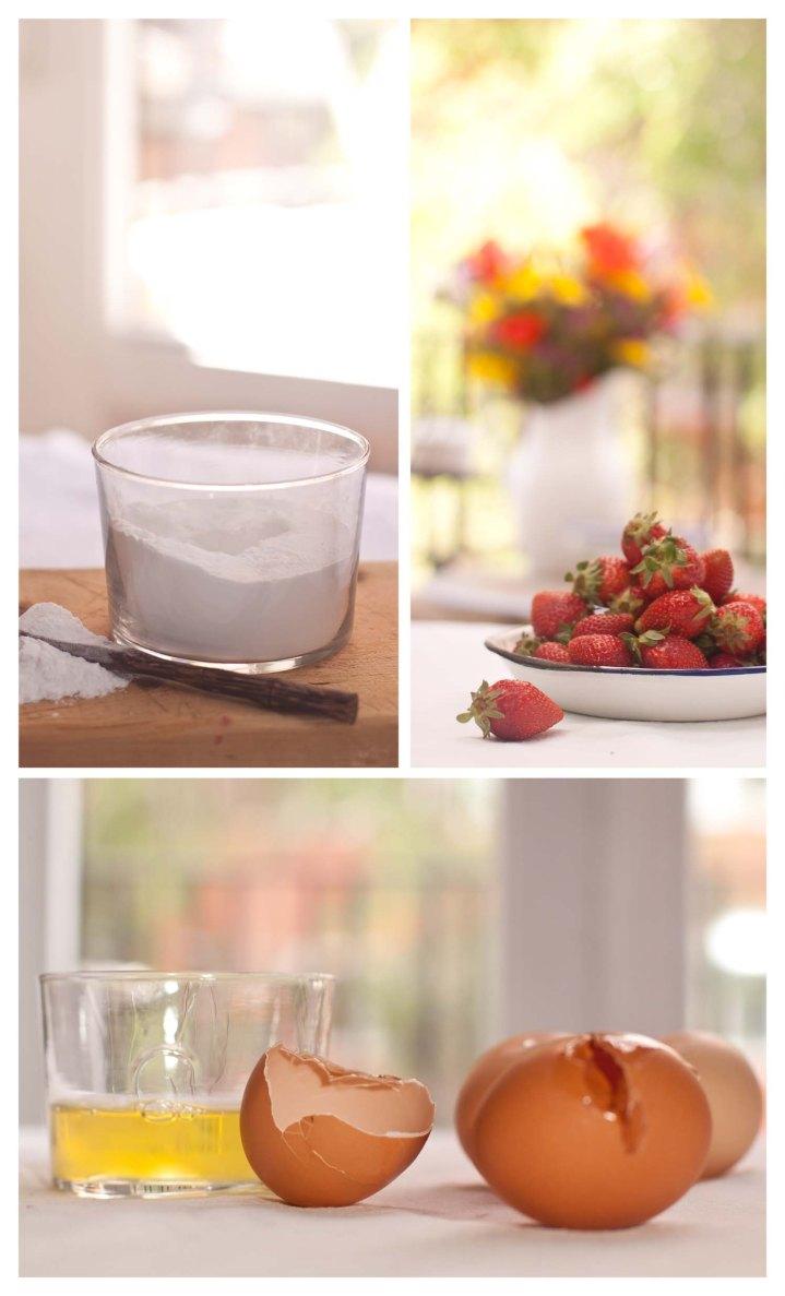Azucar, fresas y huevos