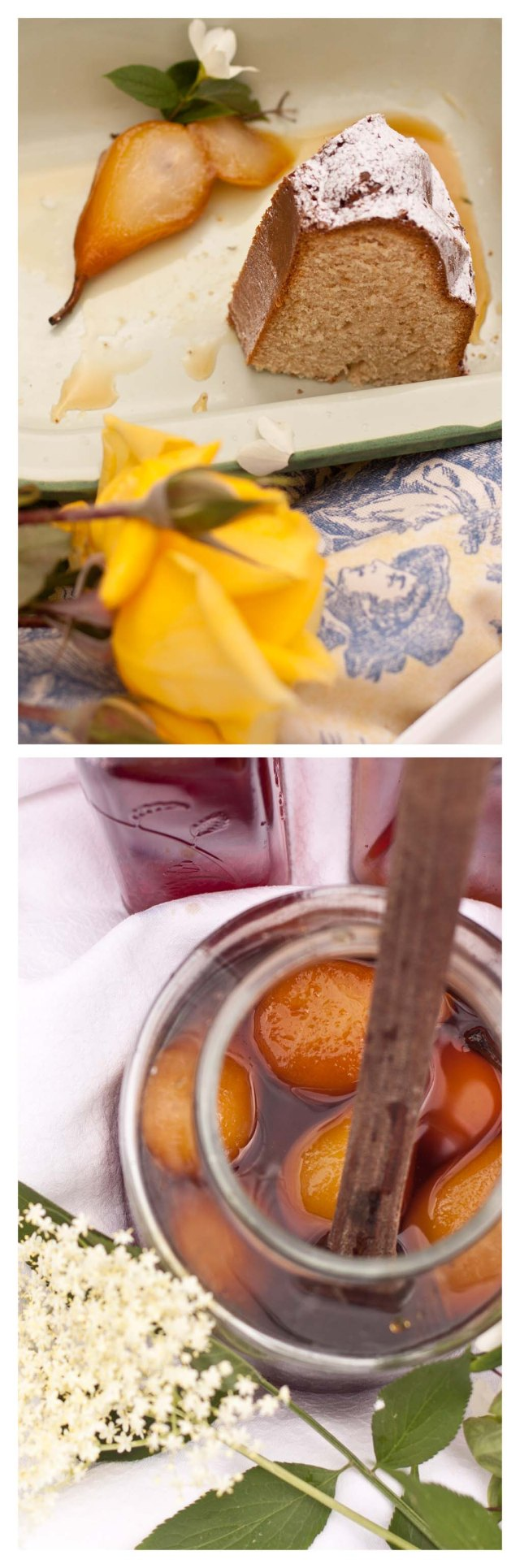 Bizcocho, flores de sauco y peras en almibar