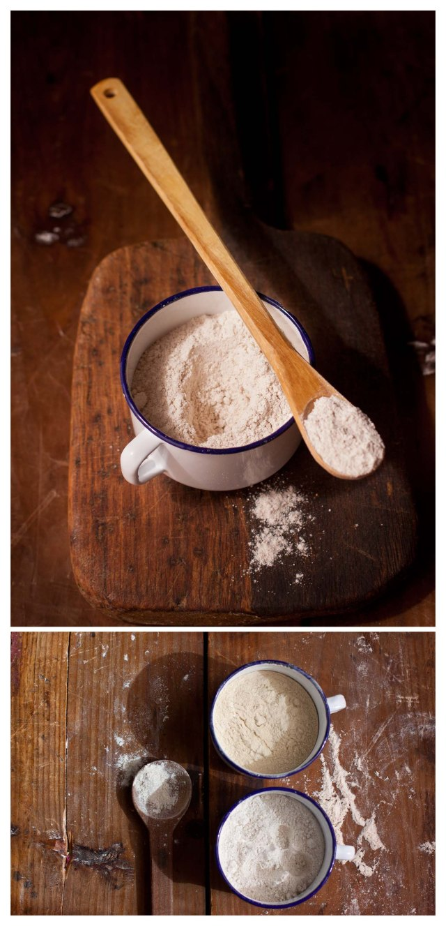Harina de escanda, gluten y harina de centeno