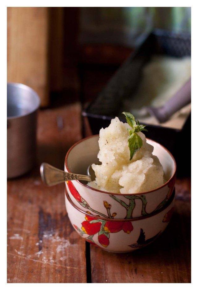 Sorbete de melón, vinagre y hierbas