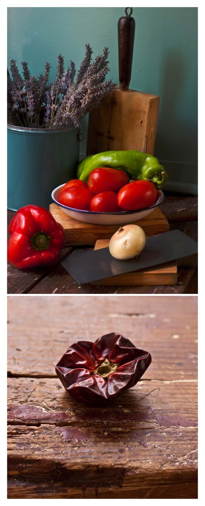 Pimientos, tomates, cebolla y ñoras