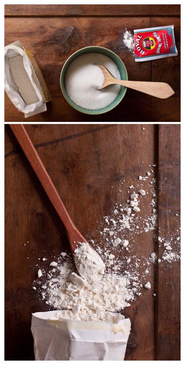 Azucar, maicena, levadura quimica y harina