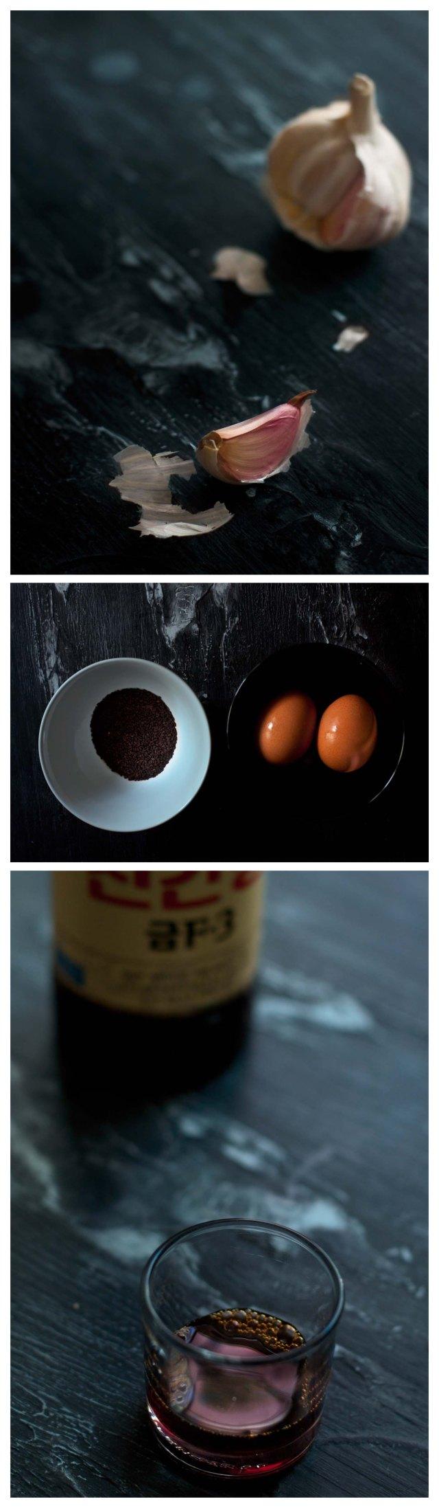 Ajo, sesamo negro, huevos y salsa de soja