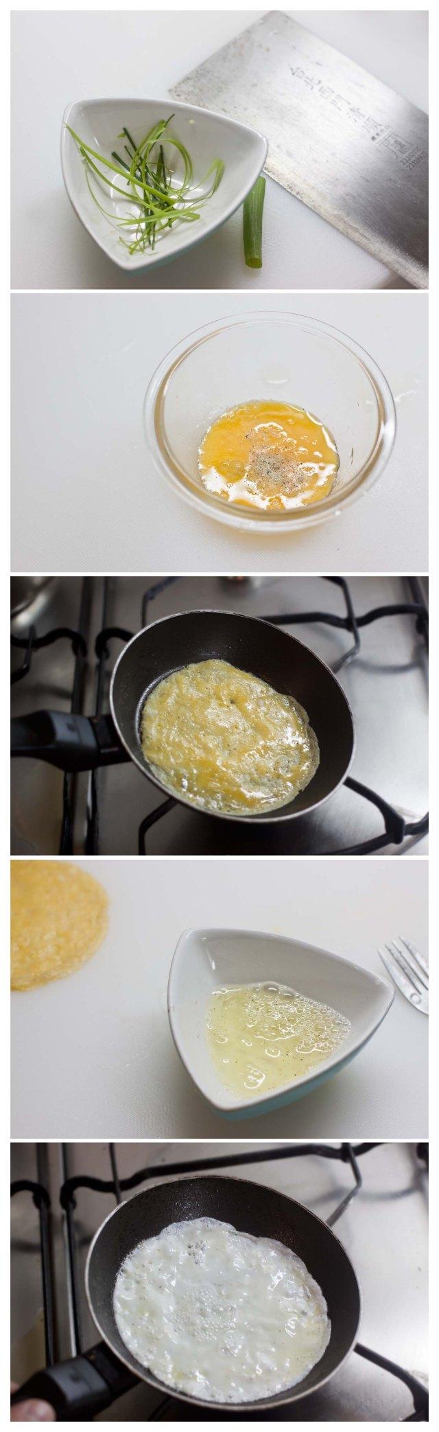 Se corta el tallo de la cebolleta y se hacen tortillas de yema y clara de huevo