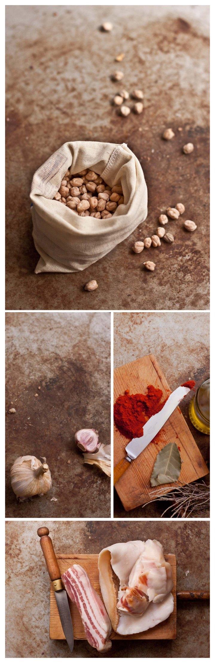 Garbanzos, ajos, pimenton, laurel tomillo, panceta en salazon y tocino de jamon