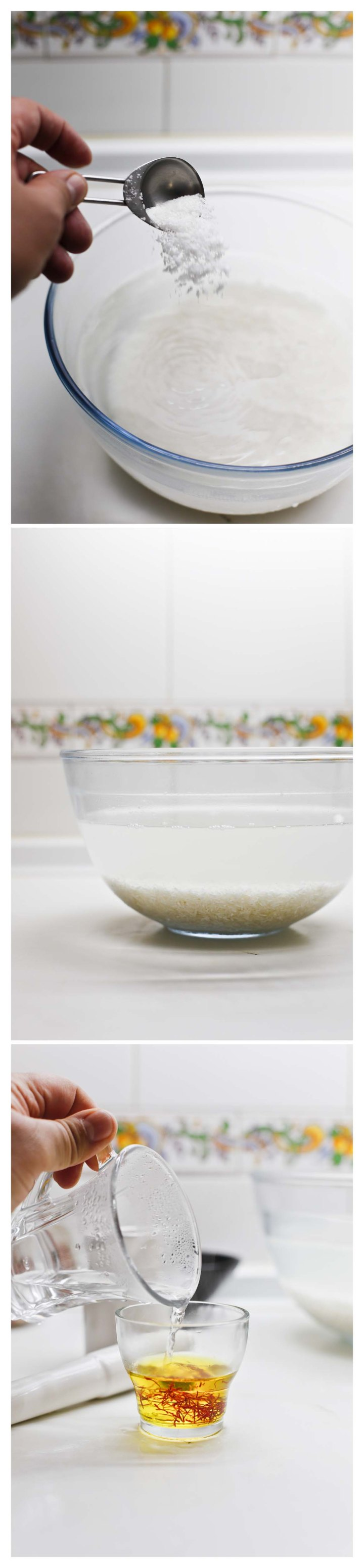 arroz en remojo y agua de azafrán