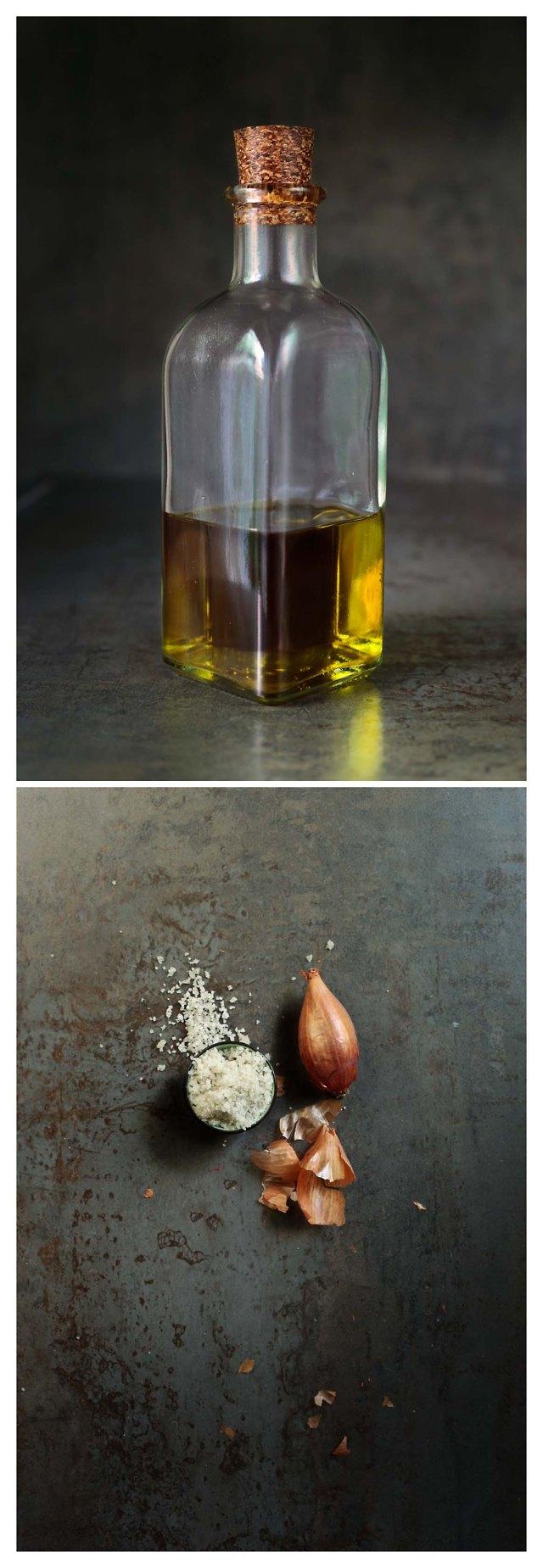 aceite, chalotas y sal