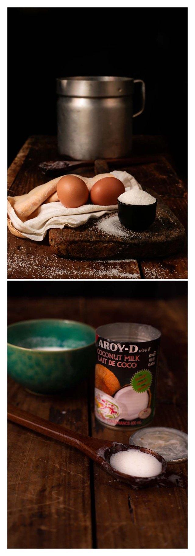 huevos, azúcar y leche