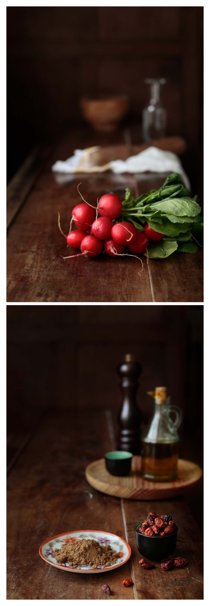 rábanos, chiles y especias
