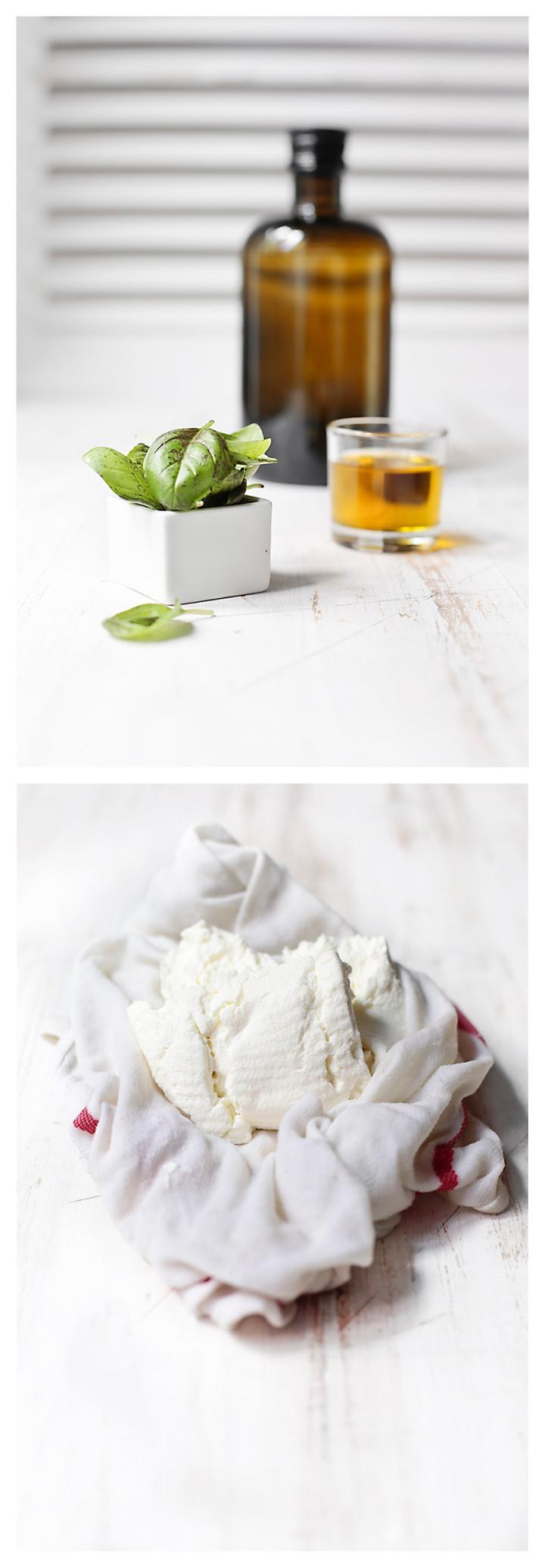 albahaca, aceite y queso