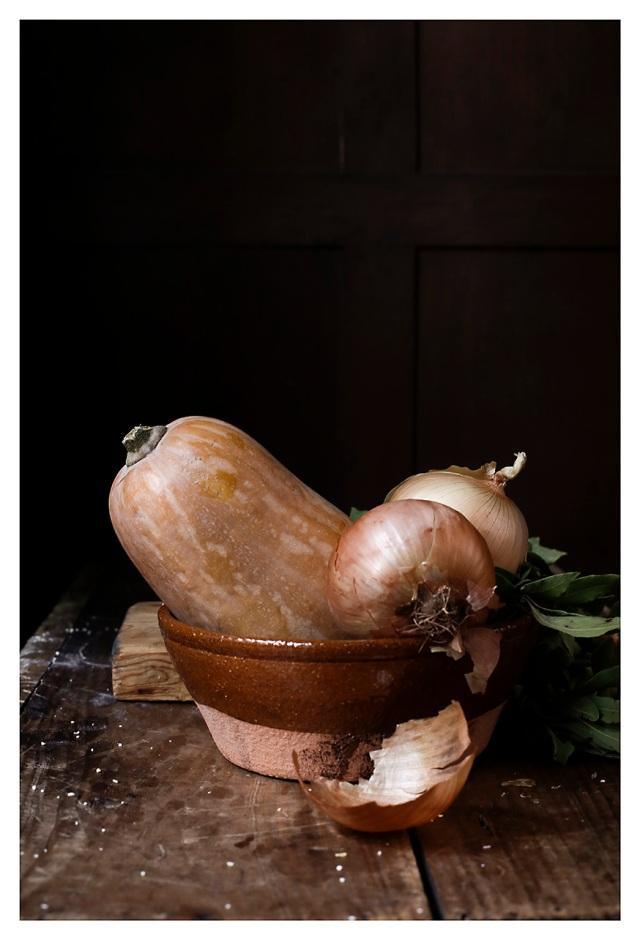 calabaza y cebollas