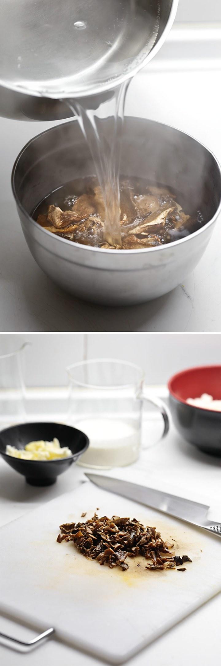Receta espagueti con nata y boletus
