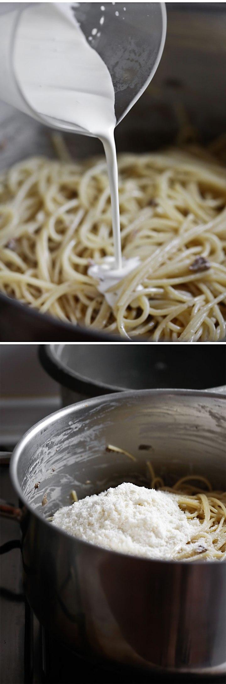 Receta espagueti con nata y Boletus edulis